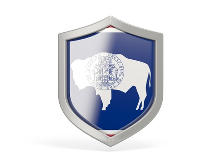 Shield icon with flag of wyoming. United states local flags. 3D illustration