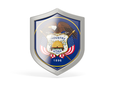 Shield icon with flag of utah. United states local flags. 3D illustration