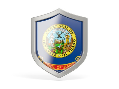 Shield icon with flag of idaho. United states local flags. 3D illustration 写真素材