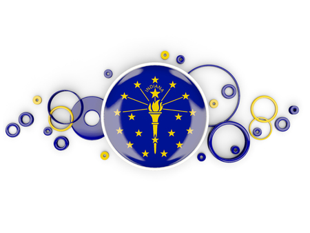 Round flag of indiana with circles pattern. United states local flags. 3D illustration Stock Photo