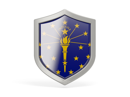 Shield icon with flag of indiana. United states local flags. 3D illustration Stock Illustration - 107585240