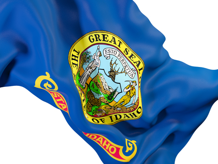 idaho state flag close up. United states local flags. 3D illustration