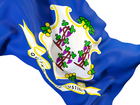 connecticut state flag close up. United states local flags. 3D illustration