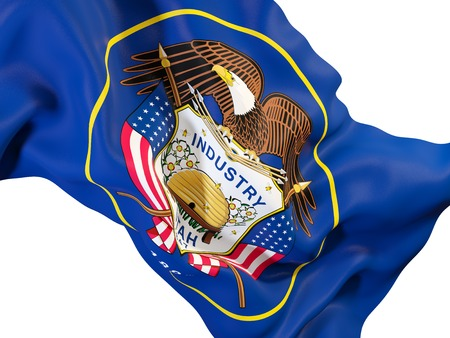 utah state flag close up. United states local flags. 3D illustration 写真素材