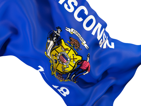 wisconsin state flag close up. United states local flags. 3D illustration