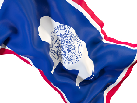 wyoming state flag close up. United states local flags. 3D illustration