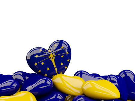 Heart shaped indiana state flag. United states local flags. 3D illustration Stock Illustration - 107153490