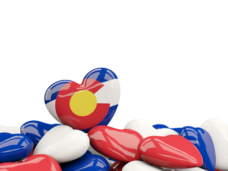 Heart shaped colorado state flag. United states local flags. 3D illustration