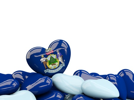 Heart shaped maine state flag. United states local flags. 3D illustration