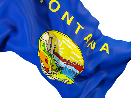 montana state flag close up. United states local flags. 3D illustration 스톡 콘텐츠