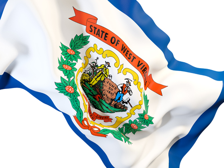 west virginia state flag close up. United states local flags. 3D illustration Stock Photo