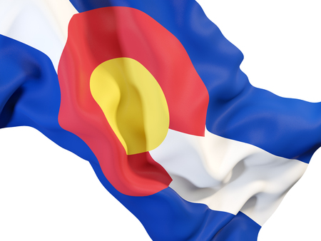 colorado state flag close up. United states local flags. 3D illustration Stock Photo