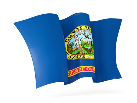 idaho state flag waving icon close up. United states local flags. 3D illustration