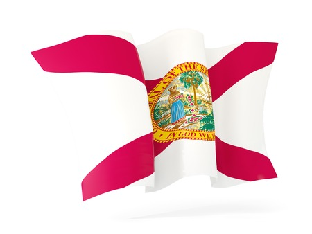 florida state flag waving icon close up. United states local flags. 3D illustration 写真素材