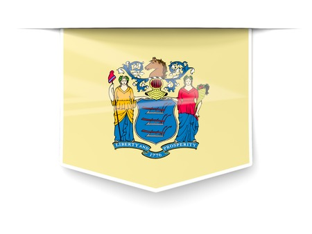 new jersey state flag square label with shadow. United states local flags. 3D illustration