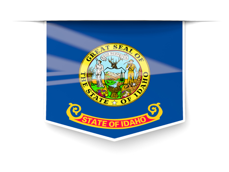 idaho state flag square label with shadow. United states local flags. 3D illustration 写真素材 - 107585434