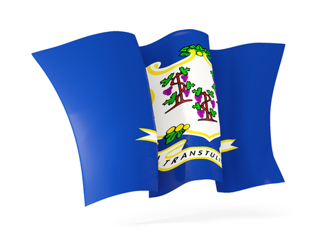 connecticut state flag waving icon close up. United states local flags. 3D illustration