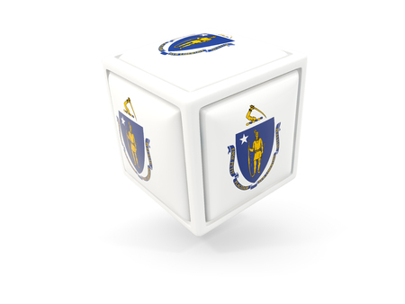 massachusetts state flag in cube icon. United states local flags. 3D illustration