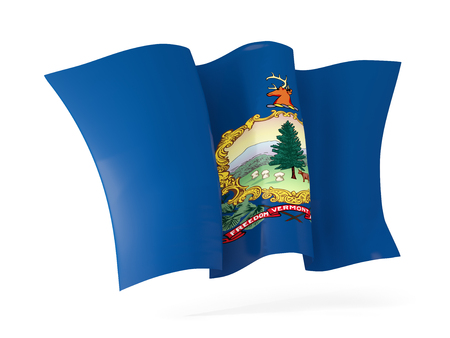 vermont state flag waving icon close up. United states local flags. 3D illustration