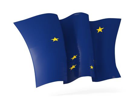 alaska state flag waving icon close up. United states local flags. 3D illustration 写真素材