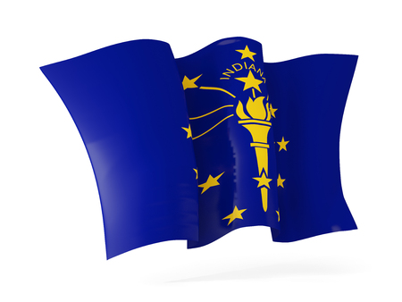 indiana state flag waving icon close up. United states local flags. 3D illustration Stock Illustration - 107585619