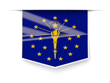 indiana state flag square label with shadow. United states local flags. 3D illustration