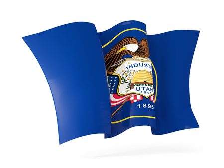utah state flag waving icon close up. United states local flags. 3D illustration