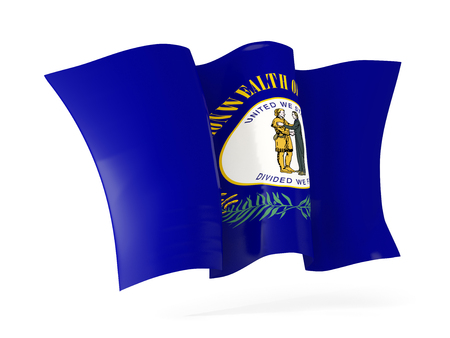 kentucky state flag waving icon close up. United states local flags. 3D illustration