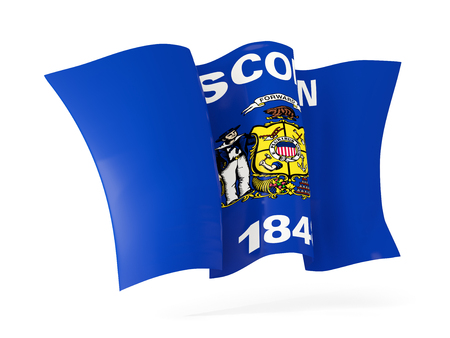 wisconsin state flag waving icon close up. United states local flags. 3D illustration Stock Photo
