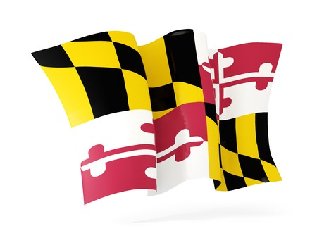 maryland state flag waving icon close up. United states local flags. 3D illustration