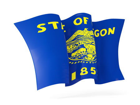 oregon state flag waving icon close up. United states local flags. 3D illustration 写真素材