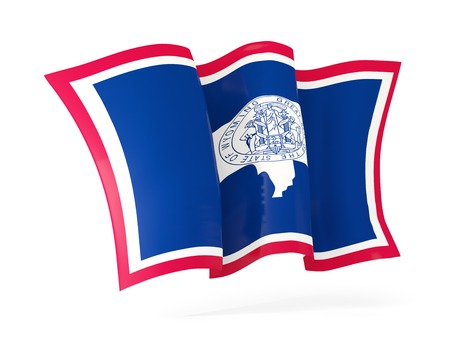 wyoming state flag waving icon close up. United states local flags. 3D illustration