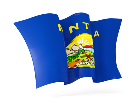 montana state flag waving icon close up. United states local flags. 3D illustration
