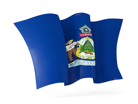 maine state flag waving icon close up. United states local flags. 3D illustration