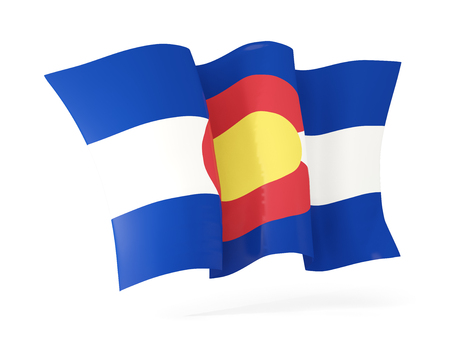 colorado state flag waving icon close up. United states local flags. 3D illustration
