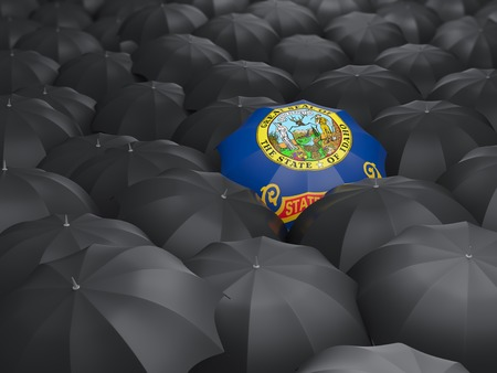 idaho state flag on umbrella. United states local flags. 3D illustration