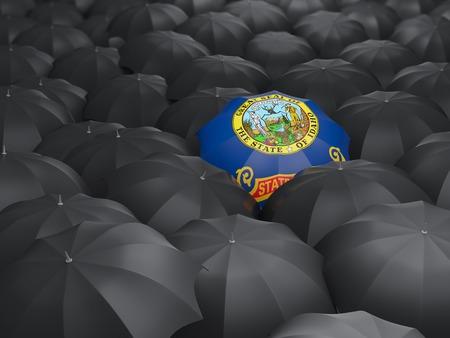 idaho state flag on umbrella. United states local flags. 3D illustration 写真素材 - 107849682