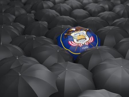 utah state flag on umbrella. United states local flags. 3D illustration 写真素材