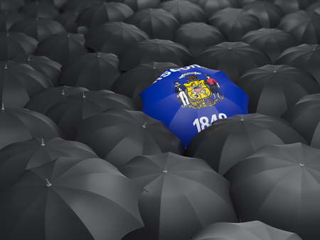 wisconsin state flag on umbrella. United states local flags. 3D illustration 版權商用圖片