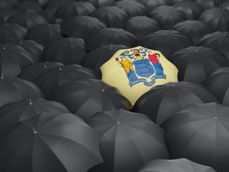 new jersey state flag on umbrella. United states local flags. 3D illustration