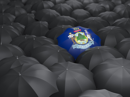 maine state flag on umbrella. United states local flags. 3D illustration