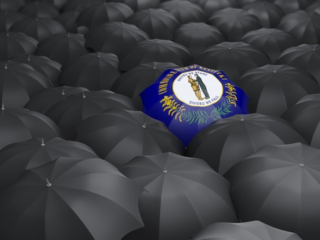 kentucky state flag on umbrella. United states local flags. 3D illustration Stock Photo