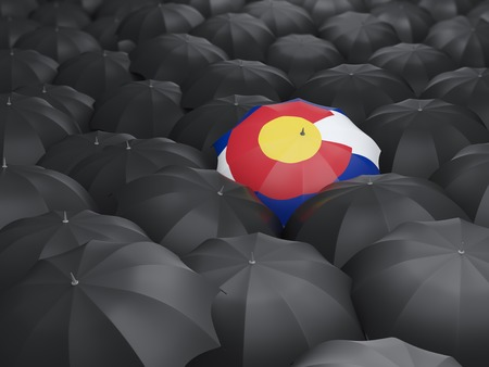 colorado state flag on umbrella. United states local flags. 3D illustration