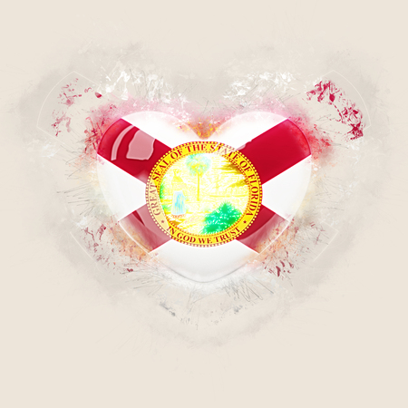 florida state flag on a grunge heart. United states local flags. 3D illustration 写真素材