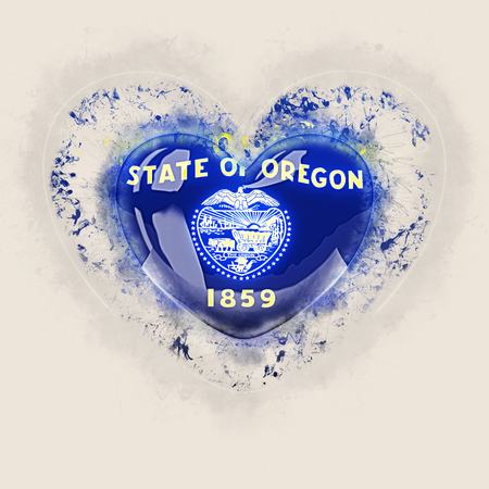 oregon state flag on a grunge heart. United states local flags. 3D illustration
