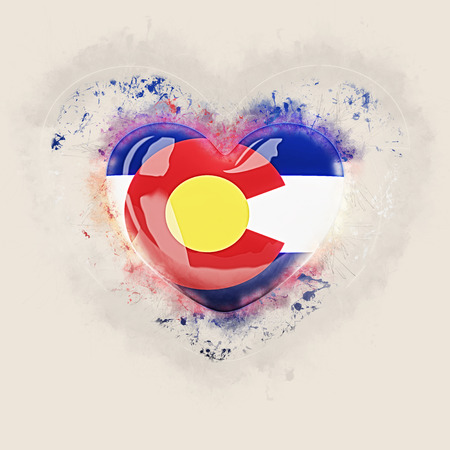 colorado state flag on a grunge heart. United states local flags. 3D illustration