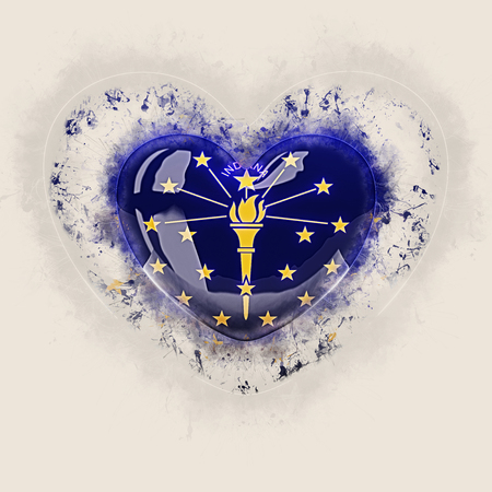indiana state flag on a grunge heart. United states local flags. 3D illustration