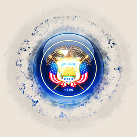 utah state flag on a round grunge icon. United states local flags. 3D illustration 版權商用圖片