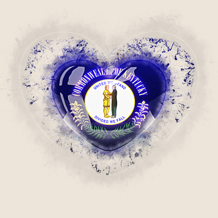 kentucky state flag on a grunge heart. United states local flags. 3D illustration Stock Photo