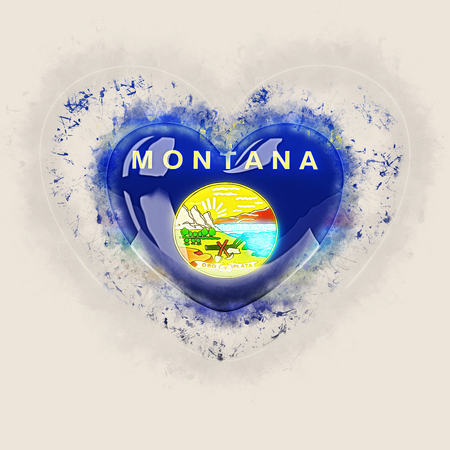 montana state flag on a grunge heart. United states local flags. 3D illustration 스톡 콘텐츠